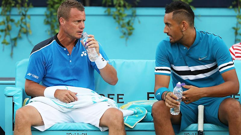 Nick Kyrgios and Lleyton Hewitt in action at the Fever-Tree Championships at Queens Club in 2018. (Photo by Matthew Stockman/Getty Images)