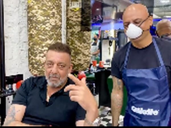 Actor Sanjay Dutt with hair stylist Aalim Hakim in Mumbai (Image Source: Instagram)