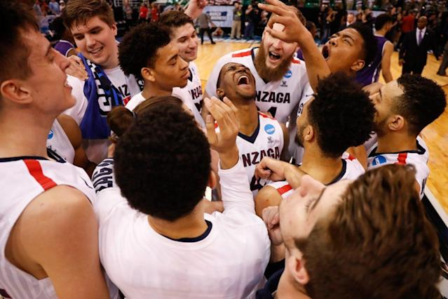 Gonzaga celebrates after a previous NCAA tournament win (Getty Images)
