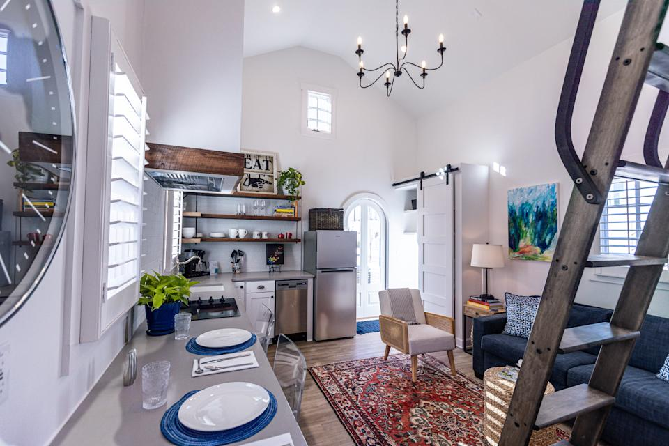The living area of this 550-square-foot Town at Trilith home makes the most of its space.