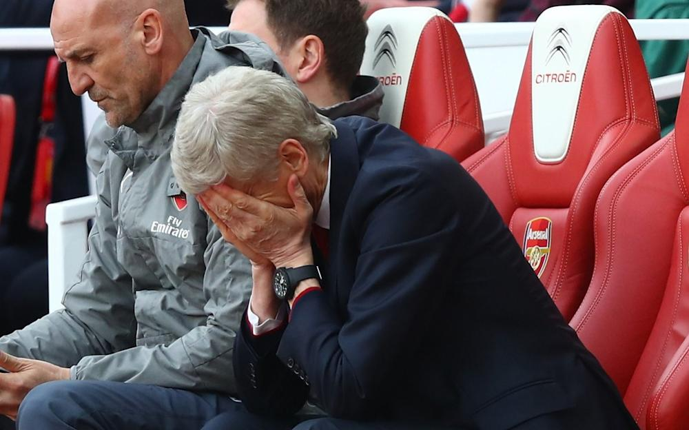 Arsene Wenger, Manager of Arsenal looks dejected during the Premier League match between Arsenal and Manchester City at Emirates Stadium on April 2, 2017 in London, England - Credit: Clive Rose/Getty