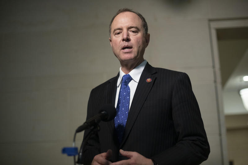 House Intelligence Committee Chairman Rep. Adam Schiff, of Calif., speaks to the media on Capitol Hill in Washington, Oct. 17, 2019. (Photo: Pablo Martinez Monsivais/AP)