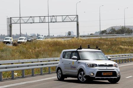 A Kia Soul, modified as an autonomous vehicle by the Imagry startup company, is seen ahead of a driving demonstration near Shfayim, Israel April 17, 2018. REUTERS/Nir Elias