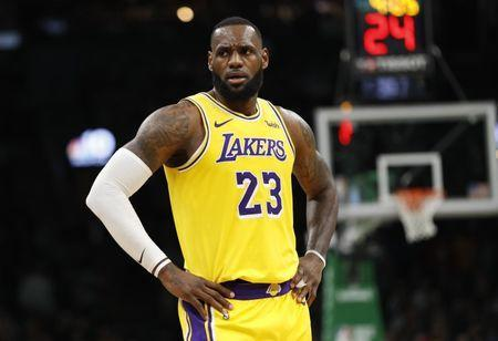 FILE PHOTO: Feb 7, 2019; Boston, MA, USA; Los Angeles Lakers forward LeBron James (23) reacts after being called for a foul against t eBoston Celtics in the second quarter at TD Garden. Mandatory Credit: David Butler II-USA TODAY Sports