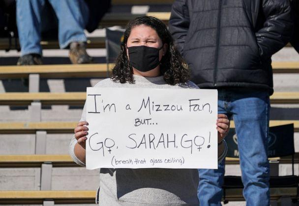 PHOTO:  A Missouri Tigers fan holds up a sign in support of Vanderbilt Commodores place kicker Sarah Fuller during the first half at Faurot Field at Memorial Stadium in Columbia, Mo., Nov. 28, 2020. (Denny Medley/USA Today Sports)
