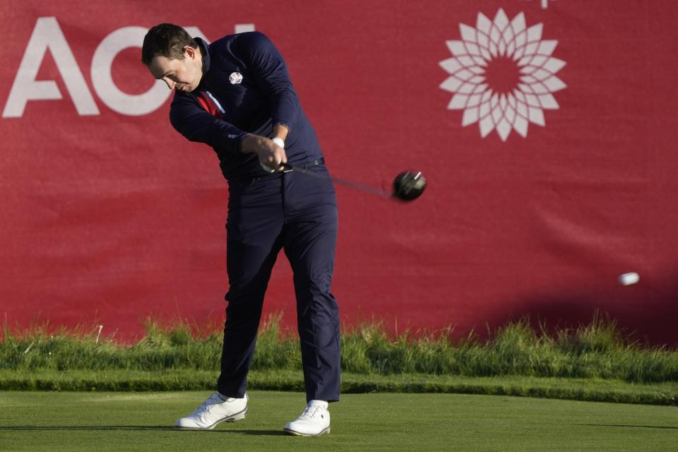 Team USA's Patrick Cantlay hits from the first tee during a foursome match the Ryder Cup at the Whistling Straits Golf Course Friday, Sept. 24, 2021, in Sheboygan, Wis. (AP Photo/Charlie Neibergall)