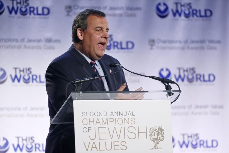 New Jersey Governor Chris Christie addresses the second Annual Champions of Jewish Values International Awards Gala in New York