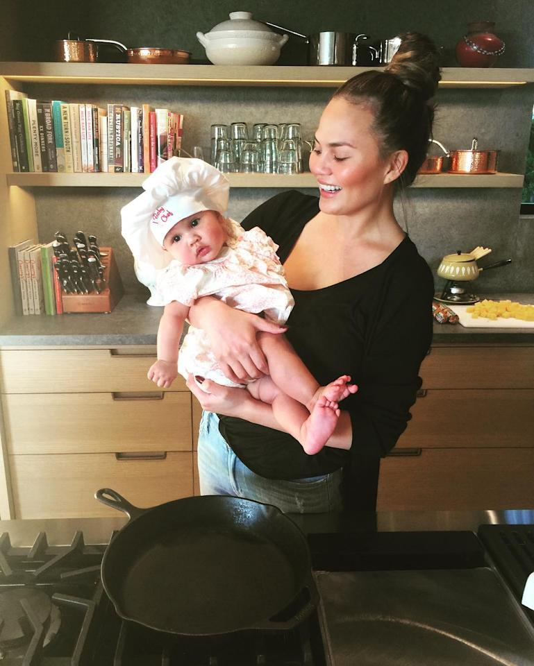 """<p>""""I have dreamed of this day!"""" the <i>Cravings</i> author captioned this delectable photo of her daughter wearing an oversized, floppy chef hat. In case you can't see it, the hat says, """"Baby chef."""" Perfect. (Photo: <a rel=""""nofollow"""" href=""""https://www.instagram.com/p/BK331DeAjgs/"""">Instagram</a>) </p>"""