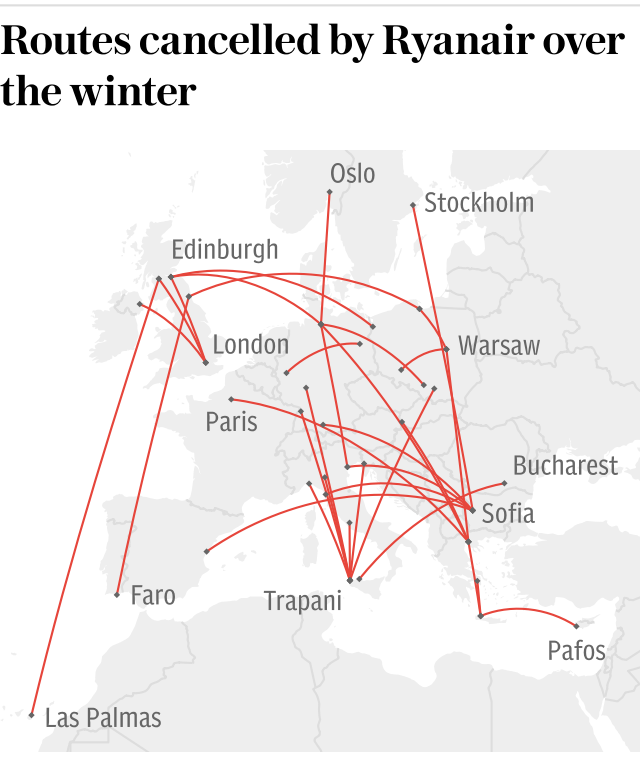 Graphic: Routes cancelled by Ryanair over the winter