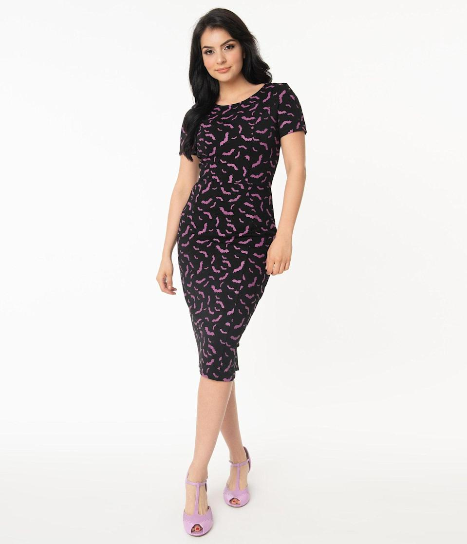 <p>I mean, how can you say no to this boo-tiful <span>Unique Vintage Black and Purple Bats Short Sleeve Mod Wiggle Dress</span> ($68)?</p>