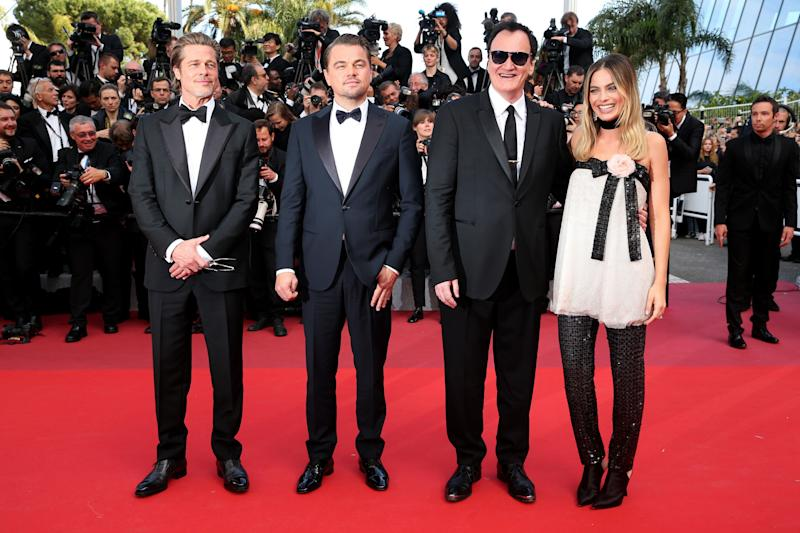 "CANNES, FRANCE - MAY 21: Brad Pitt, Leonardo Di Caprio, Quentin Tarantino and Margot Robie attend the screening of ""Once Upon A Time In Hollywood"" during the 72nd annual Cannes Film Festival on May 21, 2019 in Cannes, France. (Photo by Gisela Schober/Getty Images)"