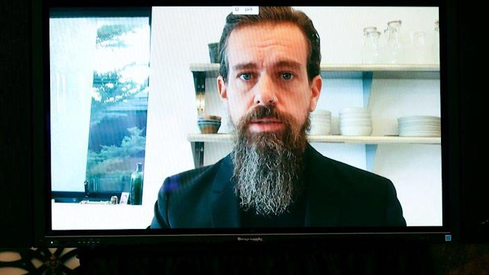 Twitter CEO Jack Dorsey testifies remotely during a Senate Judiciary Committee