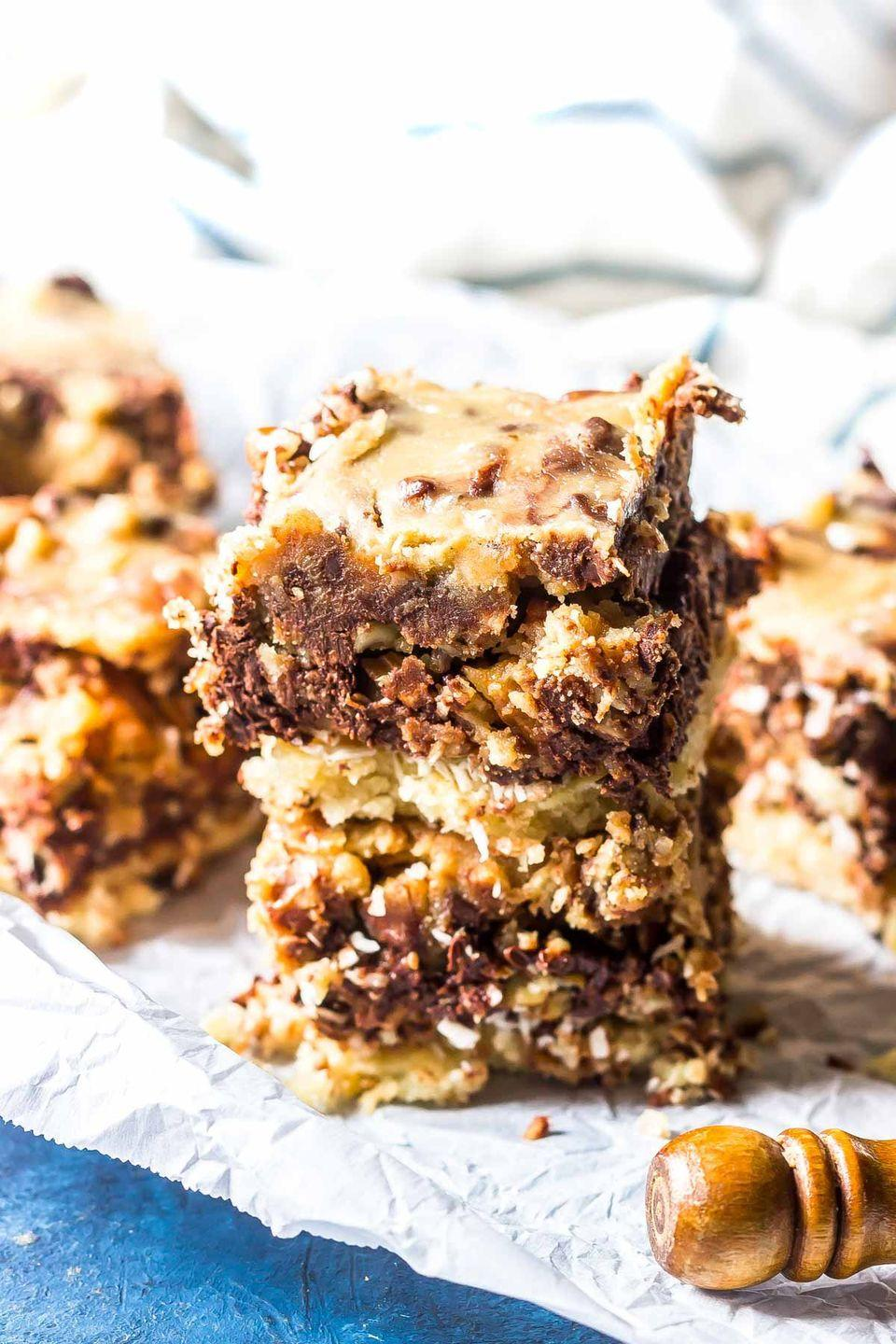 """<p>These low-carb bars will definitely satisfy your sweet tooth. The secret? Homemade caramel sauce. </p><p><a class=""""link rapid-noclick-resp"""" href=""""https://www.castironketo.net/blog/keto-magic-bars/"""" rel=""""nofollow noopener"""" target=""""_blank"""" data-ylk=""""slk:Get the recipe"""">Get the recipe</a></p><p><em>Per serving: 257 calories, 23 g fat, 12.7 carbohydrates, 7.7g fiber, 4.7 g sugar</em></p>"""