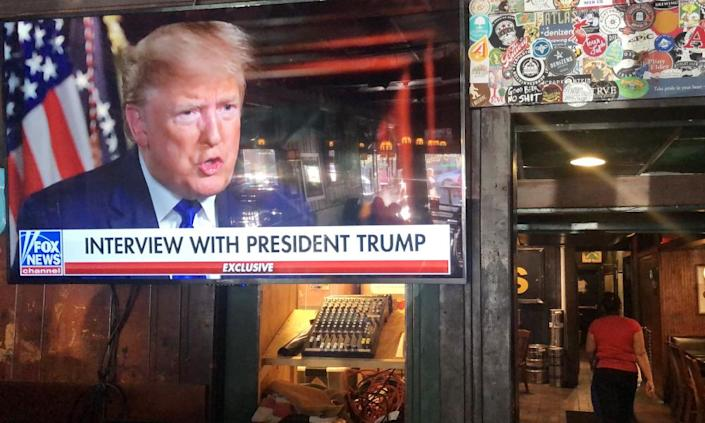 """<span class=""""element-image__caption"""">Donald Trumps pre-game Super Bowl interview with Fox News is broadcast in a bar in Washington, DC. Two ads during the game cost the campaign $180,000 a second.</span> <span class=""""element-image__credit"""">Photograph: Mario Tama/Getty Images</span>"""