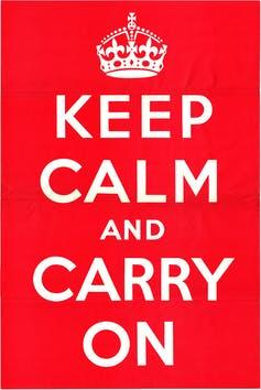 A red poster saying KEEP CALM AND CARRY ON
