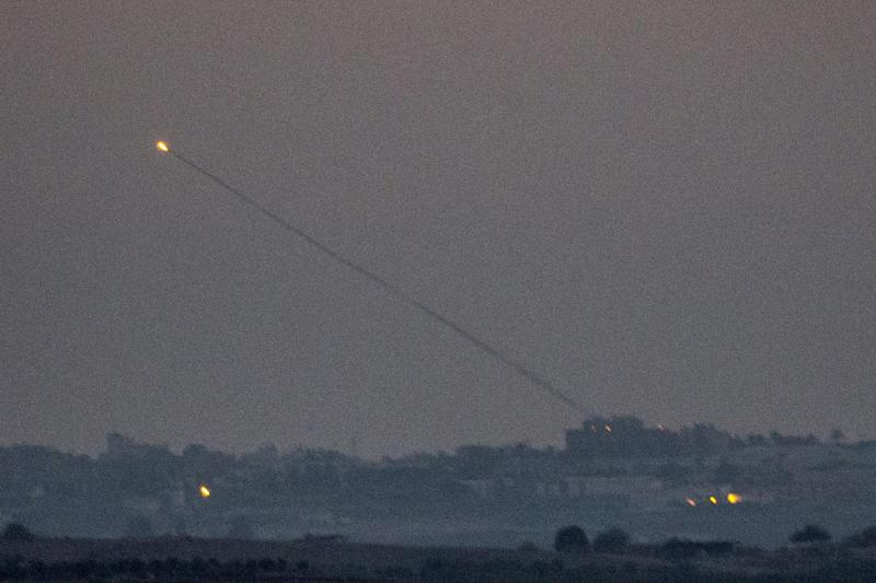 A rocket is launched from the Gaza strip into Israel, on July 10, 2014