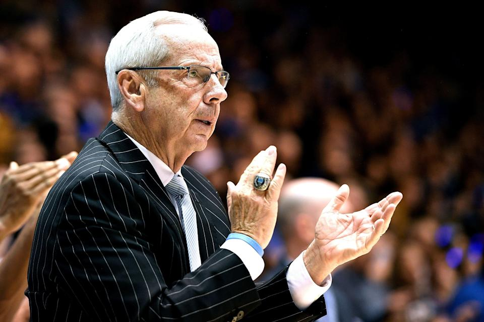 DURHAM, NC - FEBRUARY 20: Head coach Roy Williams of the North Carolina Tar Heels reacts during their game against the Duke Blue Devils at Cameron Indoor Stadium on February 20, 2019 in Durham, North Carolina. UNC won 88-72. (Photo by Lance King/Getty Images)