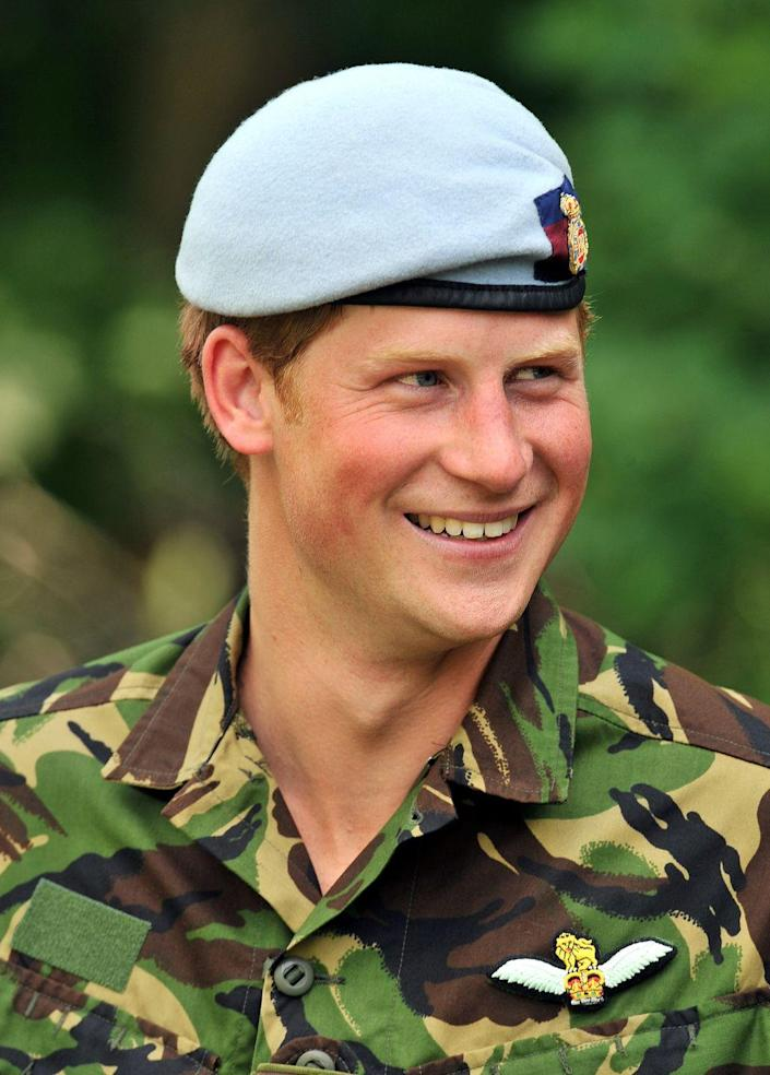 <p>Harry, 25, smiles (and makes a case for berets) while watching a foot patrol training exercise during a visit to the Westpoint Military Academy in New York.</p>