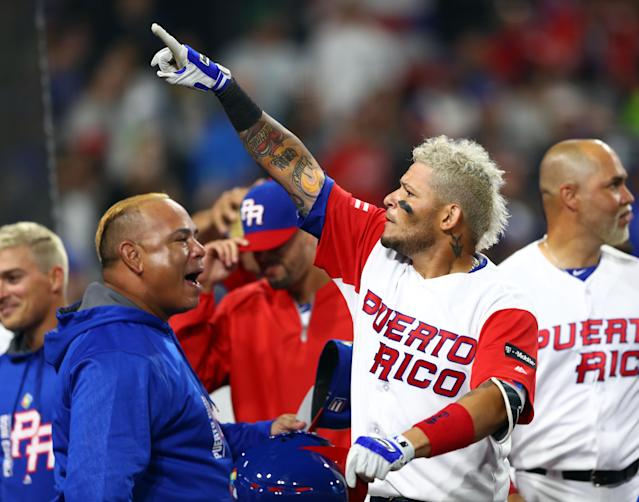 """<a class=""""link rapid-noclick-resp"""" href=""""/mlb/players/7345/"""" data-ylk=""""slk:Yadier Molina"""">Yadier Molina</a> wants the embattled governor of Puerto Rico to resign. (Photo by Alex Trautwig/WBCI/MLB via Getty Images)"""