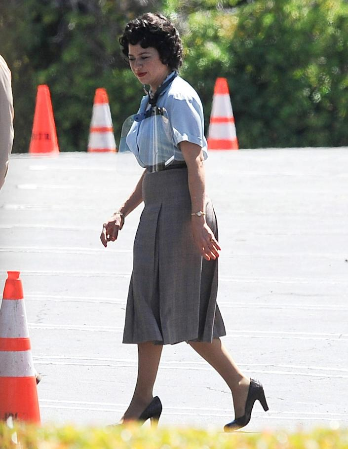 <p>Alia Shawkat gets all dolled up on the Los Angeles set of <em>Being the Ricardos</em> on Friday.</p>