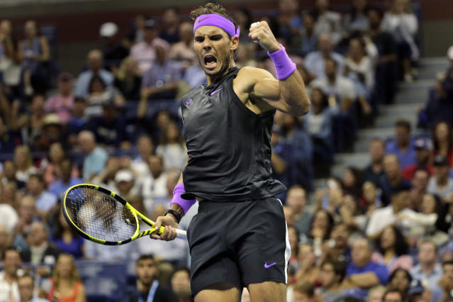 "<a class=""link rapid-noclick-resp"" href=""/olympics/rio-2016/a/1195086/"" data-ylk=""slk:Rafael Nadal"">Rafael Nadal</a>, of Spain, reacts during a fourth-round match against <a class=""link rapid-noclick-resp"" href=""/olympics/rio-2016/a/1133278/"" data-ylk=""slk:Marin Cilic"">Marin Cilic</a>, of Croatia, during the U.S. Open tennis tournament Monday, Sept. 2, 2019, in New York. (AP/Seth Wenig)"