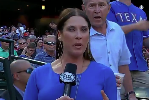George W. Bush made an appearance on the Rangers broadcast on Wednesday.