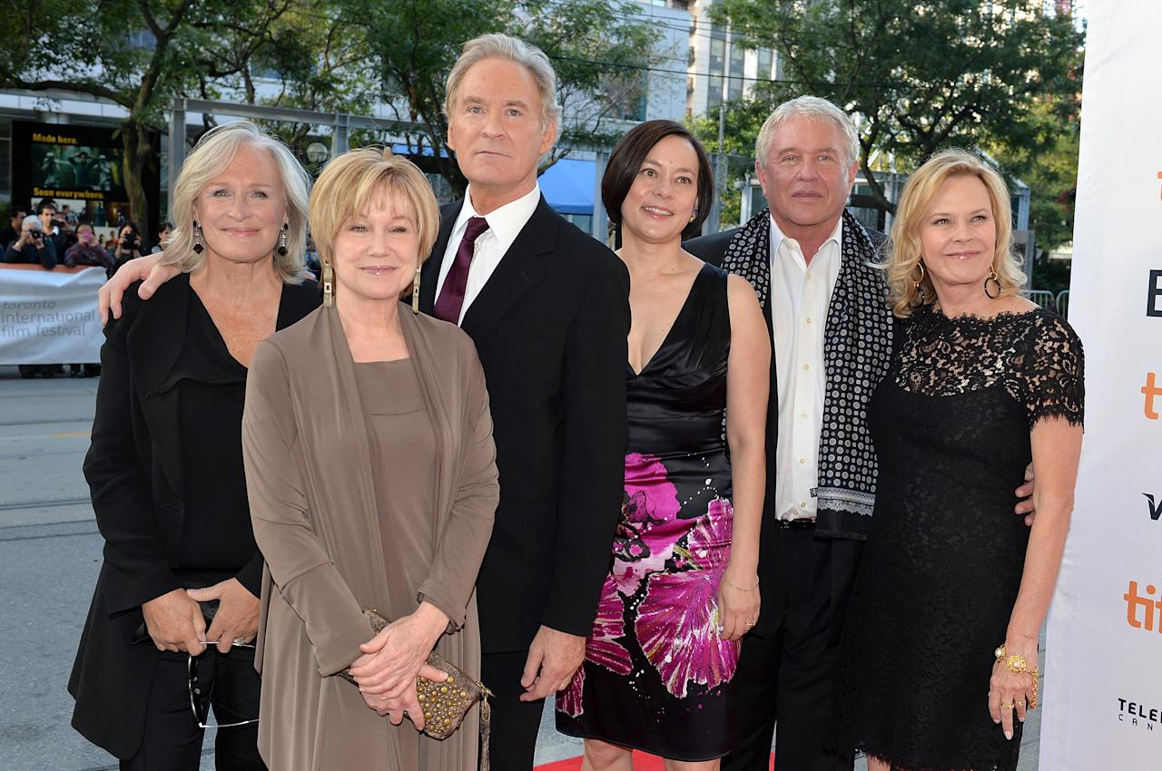 """TORONTO, ON - SEPTEMBER 05: (L-R) Actors Glenn Close, Mary Kay Place, Kevin Kline, Meg Tilly, Tom Berenger and JoBeth Williams arrive at """"The Big Chill"""" 30th Anniversary screening during the 2013 Toronto International Film Festival at Princess of Wales Theatre on September 5, 2013 in Toronto, Canada. (Photo by Alberto E. Rodriguez/Getty Images)"""