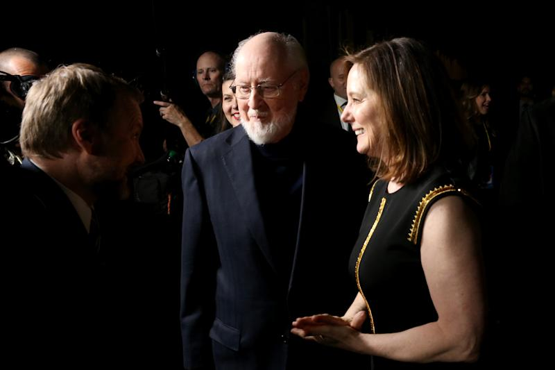 LOS ANGELES, CA - DECEMBER 09: (L-R) Writer/Director Rian Johnson, Composer John Williams and Producer Kathleen Kennedy at the world premiere of Lucasfilm's Star Wars: The Last Jedi at The Shrine Auditorium on December 9, 2017 in Los Angeles, California. (Photo by Jesse Grant/Getty Images for Disney)