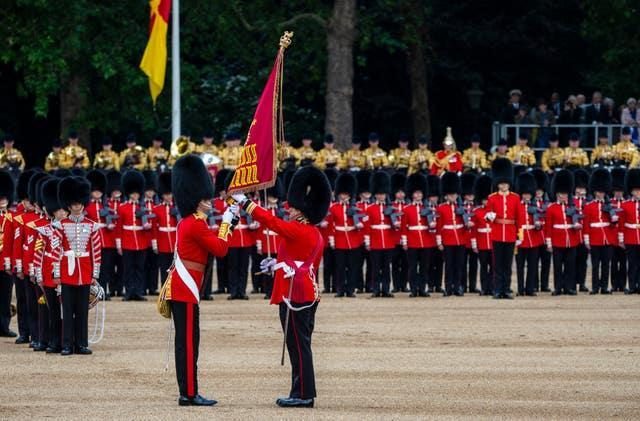 The Guard of Honour 1st Battalion Grenadier Guards marching at Horse Guards Parade, London, during the Trooping the Colour ceremony (Sgt Randall RLC/MoD/Crown Copyright/PA)