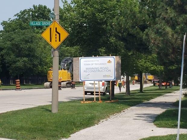 The Town of Tecumseh says construction started Monday on improvements to Manning Road. (Sonya Varma/CBC - image credit)