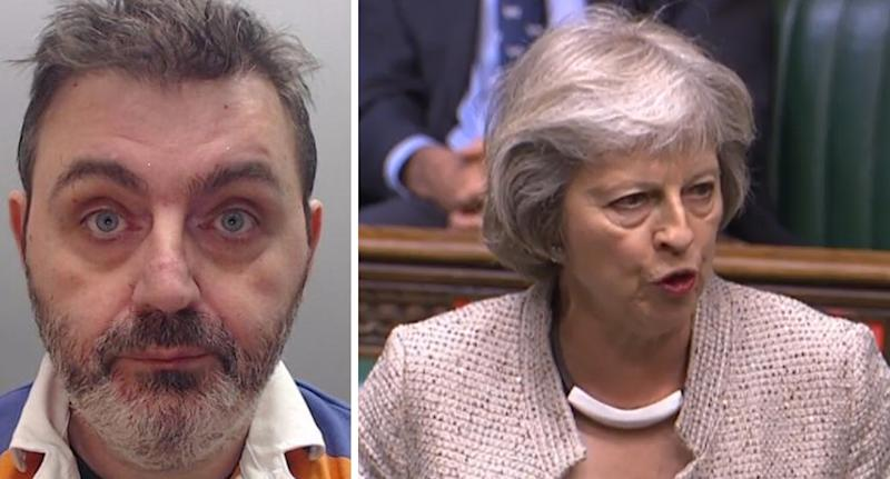 Dr Christopher Doyle, left, sparked a counter terrorism investigation when he sent Theresa May, right, a picture of her beheaded when she was Prime Minister. (Met Police/ PA)