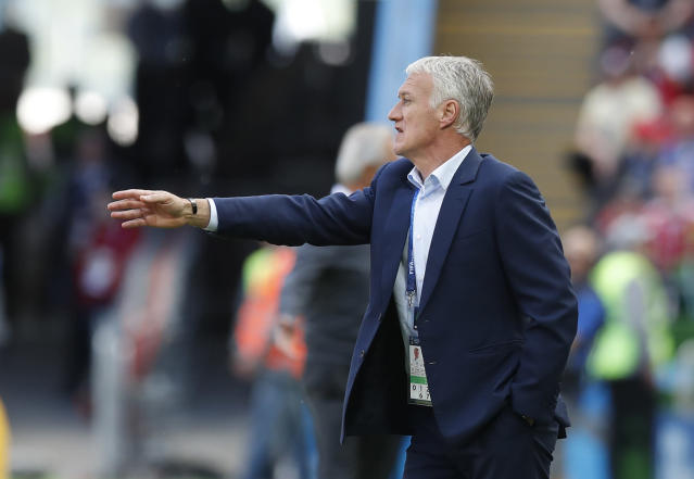 France head coach Didier Deschamps gestures to his players during the group C match between France and Australia at the 2018 soccer World Cup in the Kazan Arena in Kazan, Russia, Saturday, June 16, 2018. (AP Photo/Pavel Golovkin)