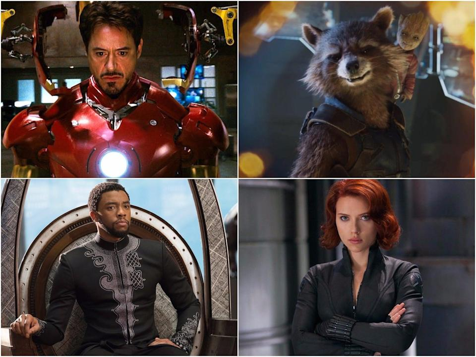 En el sentido de las agujas del reloj desde la parte superior derecha: Iron Man, Rocket and Groot, Black Widow y Black Panther (Marvel/Disney)