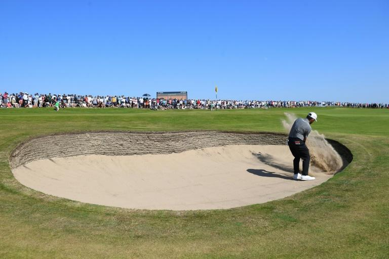Louis Oosthuizen found bunkers twice at the par-five seventh