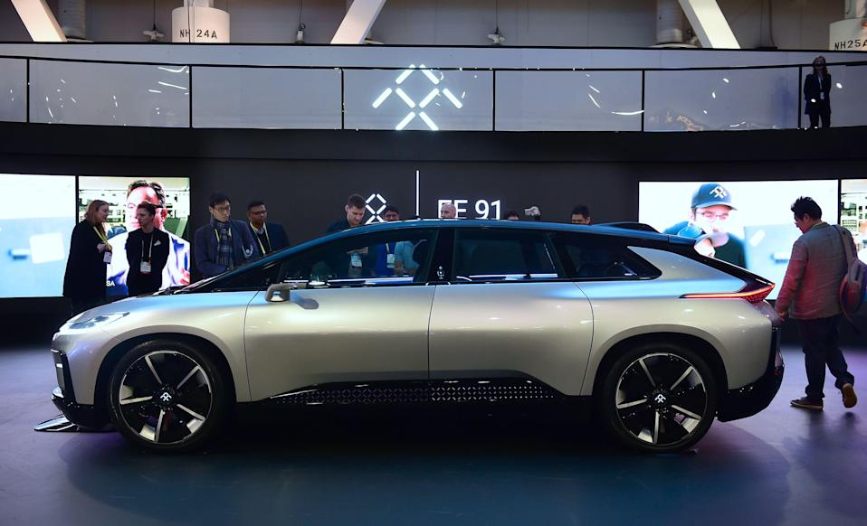 Faraday Future's FF91 electric car on display at the 2017 Consumer Electronic Show (CES) in Las Vegas, Nevada on January 7, 2017. / AFP / Frederic J. BROWN (Photo credit should read FREDERIC J. BROWN/AFP/Getty Images)