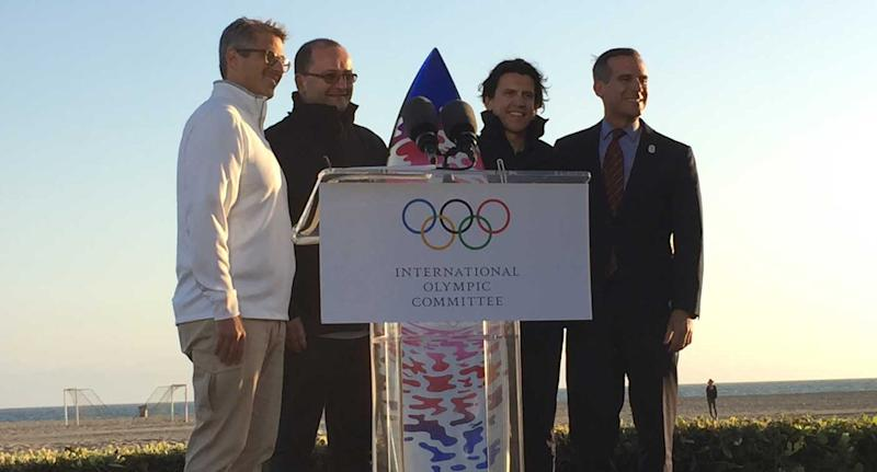 LA 2024 chairman Casey Wasserman, IOC members Patrick Baumann and Christophe Dubi, and L.A. Mayor Eric Garcetti