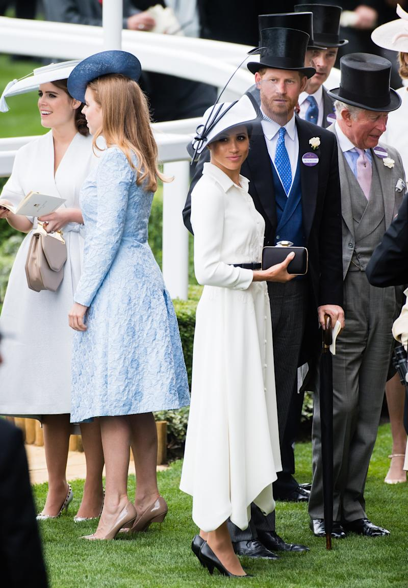Princess Eugenie of York, Princess Beatrice of York, Meghan, Duchess of Sussex and Prince Harry, Duke of Sussex and Prince Charles, Prince of Wales attend Royal Ascot Day 1 at Ascot Racecourse on June 19, 2018 in Ascot, United Kingdom.