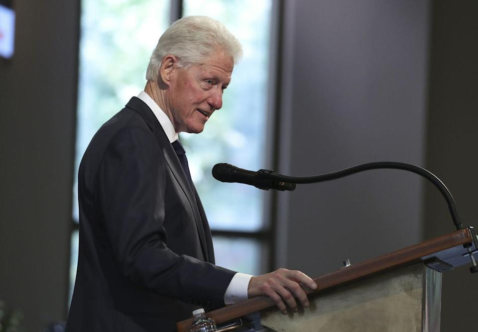 "<p>Former President Bill Clinton also gave a moving eulogy at the funeral service. ""He got into a lot of good trouble along the way, but let's not forget he also developed an absolutely uncanny ability to heal troubled waters,"" Clinton said. ""When he could have been angry and determined to cancel his adversaries, he tried to get converts instead. He thought the open hand was better than the clenched fist."" </p>"