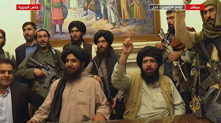 Members of the Taliban have control of the presidential palace in Kabul, Afghanistan, on Aug. 16.