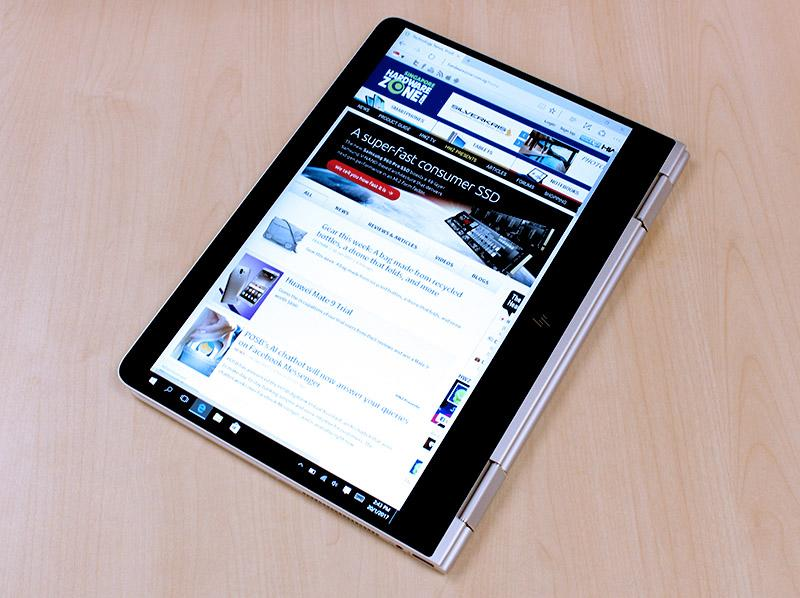 The keyboard can be folded away, turning the Spectre x360 into a tablet.