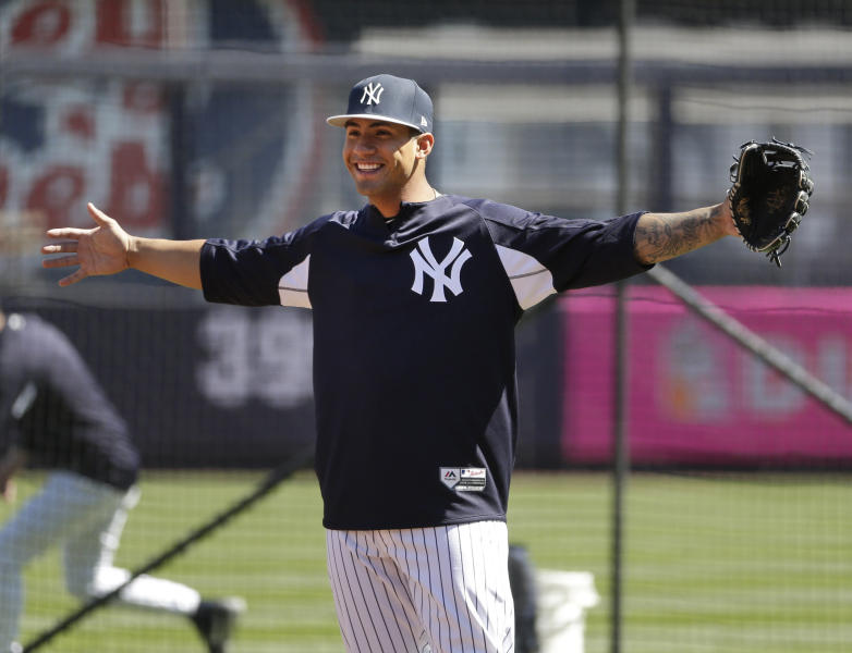 New York Yankees' Gleyber Torres warms-up before the game against the Toronto Blue Jays at Yankee Stadium Sunday, April 22, 2018 in New York. (AP Photo/Seth Wenig)