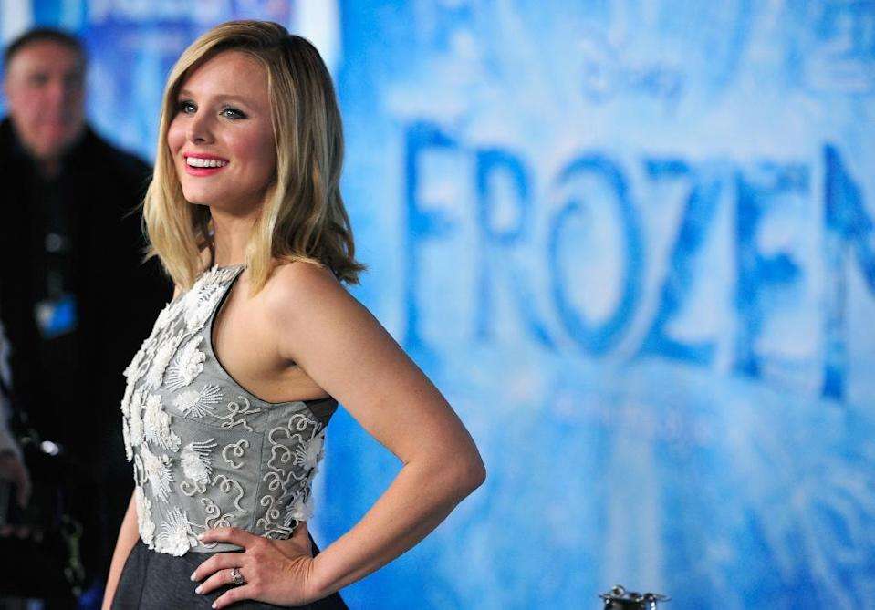 """Actress Kristen Bell, pictured here in Hollywood on November 19, 2013, will reunite with her """"Frozen"""" costars in a new short film to be shown in theaters before Disney's new """"Cinderella"""" (AFP Photo/Frazer Harrison)"""