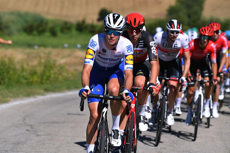 TURIN ITALY AUGUST 05 Ian Garrison of United States and Team Deceuninck QuickStep Florian Vermeersch of Belgium and Team Lotto Soudal during the 101st Milano Torino 2020 a 198km race from Mesero to Stupinigi Turin MilanoTorino on August 05 2020 in Stupinigi Turin Italy Photo by Tim de WaeleGetty Images