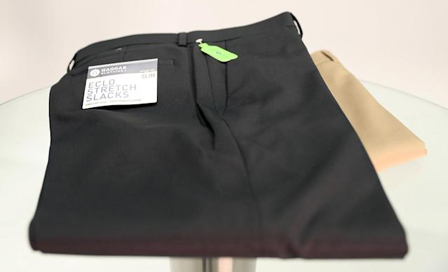 "<p>Haggar may not jump out at you as the sexiest brand, but these slacks have a lot going for them. They're washer-friendly and wrinkle-resistant. They're versatile enough for golf, work, or a nice dinner — after which the hidden expandable waistband might come in handy. Their performance poly fabric is made in part out of recycled plastic bottles, so they have eco cred. And they sell for <a href=""http://www.haggar.com/mens-eclo-stria-dress-pants/"" rel=""nofollow noopener"" target=""_blank"" data-ylk=""slk:$35"" class=""link rapid-noclick-resp"">$35</a>, which is nice. (Gordon Donovan/Yahoo News) </p>"