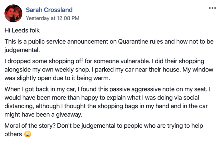 Sarah Crossland shared a picture of the note on Facebook, urging people not to be judgemental. (Picture: Facebook)