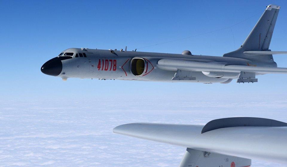 An H-6K bomber in training exercises, as the People's Liberation Army air force conducts a combat air patrol in the South China Sea on November 23, 2017. Photo: Xinhua