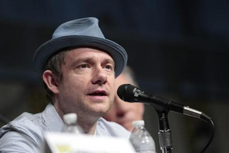 "Freeman speaks during a panel for ""The Hobbit: An Unexpected Journey"" during Comic Con International convention in San Diego"