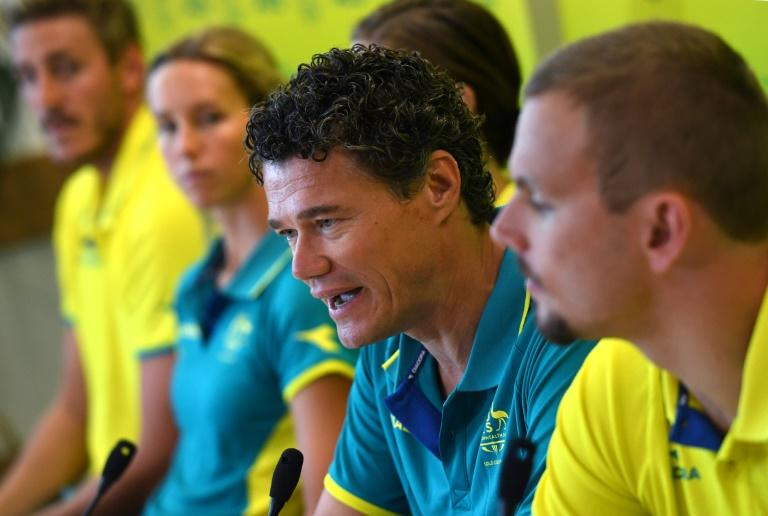 Australia's swim coach Jacco Verhaeren (centre) has set brutally difficult qualifying standards to make Australia's team for the world swimming championships which begin on Sunday, July 21