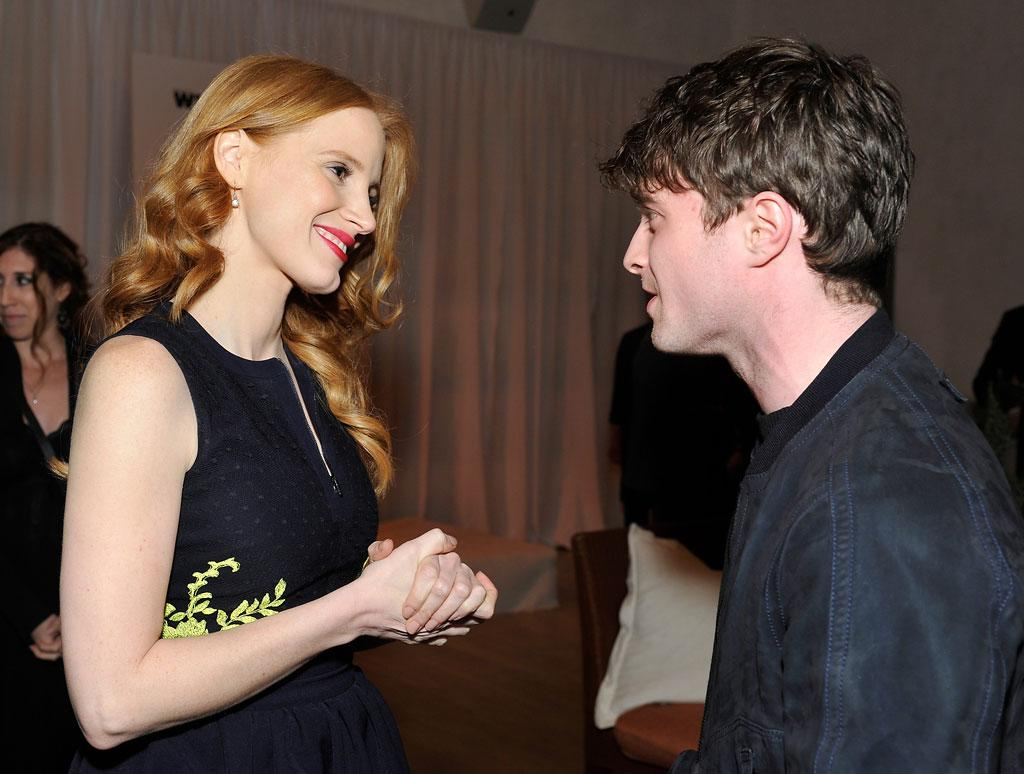 Jessica Chastain and Daniel Radcliffe attend the Women In Film's 6th Annual Pre-Oscar Party hosted by Perrier Jouet, MAC Cosmetics and MaxMara at Fig & Olive on February 22, 2013 in Los Angeles, California.