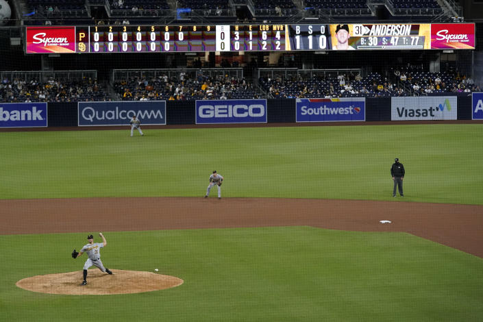 Pittsburgh Pirates starting pitcher Tyler Anderson, works against a San Diego Padres batter during the seventh inning of a baseball game Monday, May 3, 2021, in San Diego. (AP Photo/Gregory Bull)